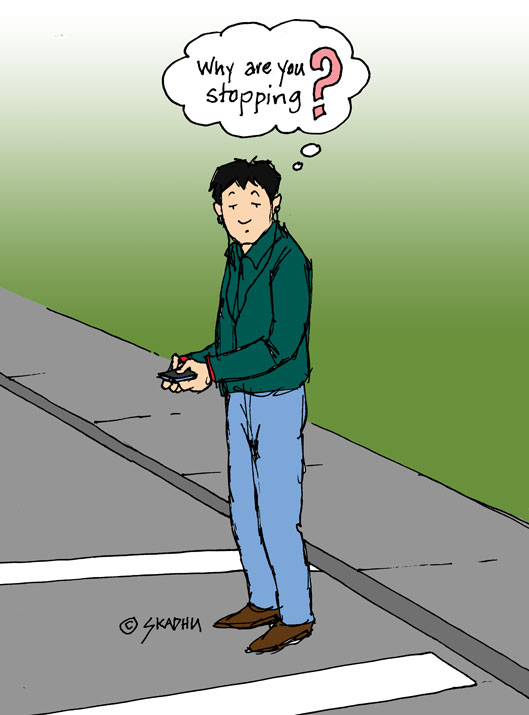 cartoon of an idiot standing in a crosswalk texting